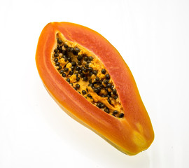 fresh papaya in white background