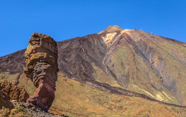 Rock formation called Roque Cinchado and Teide volcano