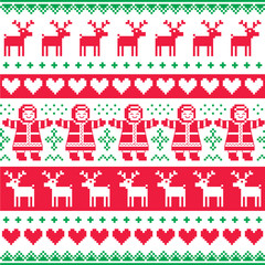 Winter, Christmas red and green seamless vector pattern or print