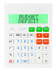 Calculator with BUDGET DEFICIT on display isolated on white