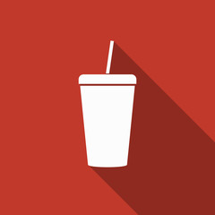 cold drink icon with long shadow