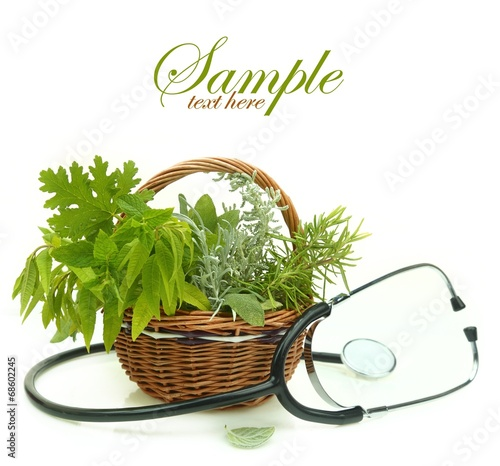 Fresh herbs in a basket and stethoscope - 68602245