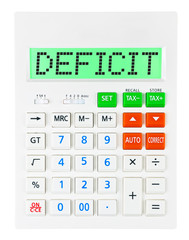 Calculator with DEFICIT on display isolated on white background