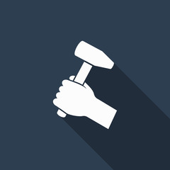 hammer in hand icon with long shadow