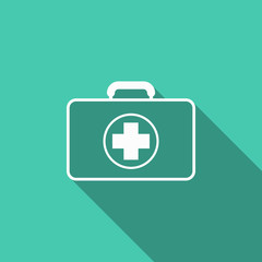 first aid kit icon with long shadow
