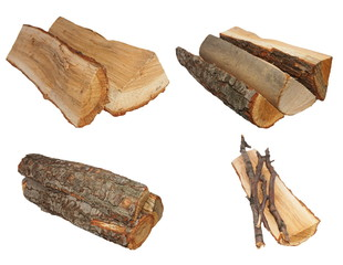 set log fire wood isolated on white  with clipping path