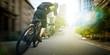 Leinwandbild Motiv bike courier