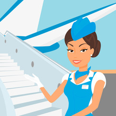 Female stewardess wearing blue suit  and airplane behind