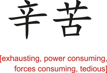 Chinese Sign for exhausting, power consuming, tedious