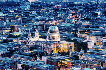 Night aerial view of St. Paul's Cathedral