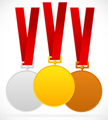 Gold, silver, bronze medals with red ribbon