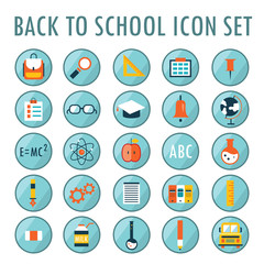 Back to school icon set. Vector illustration. Part 1