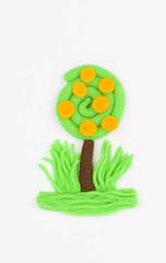 Plasticine fruit tree.