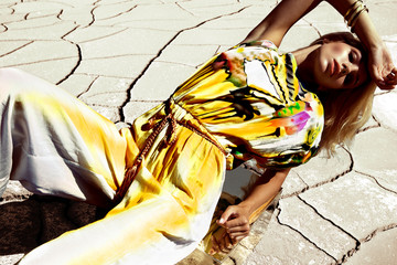 Fashion woman in desert