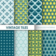 Vintage Tile Backgrounds - 8 seamless patterns for design
