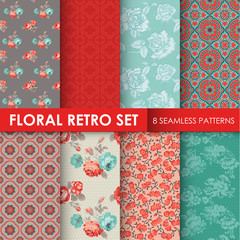 8 Seamless Patterns - Floral Retro Set - texture for wallpaper