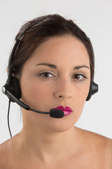 Call center customer service agent. Woman with headset