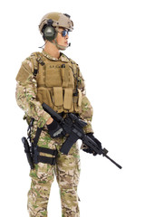 Soldier holding a Sniper on a white background