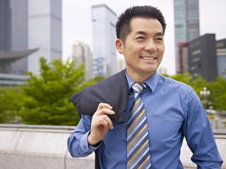outdoor portrait asian business executive
