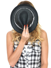 Young Woman Hiding Behind a Tilbury Hat