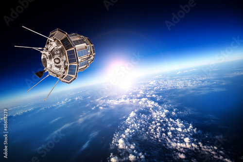 Tuinposter Ruimtelijk Space satellite over the planet earth