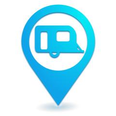 caravane sur symbole localisation bleu