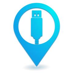clef usb sur symbole localisation bleu