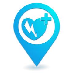 défibrillateur sur symbole localisation bleu
