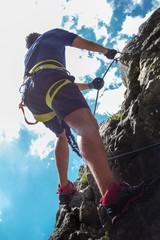 Herausforderung am Klettersteig