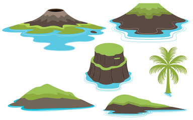 Set of many Islands and valcano