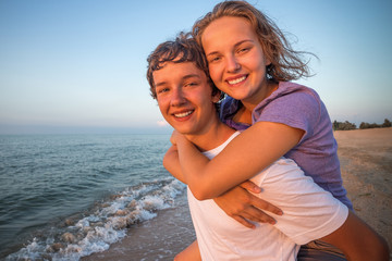 Happy smiling summer  couple teen