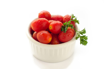 plum tomatoes in isolated white background