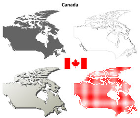 Canada blank detailed outline map set