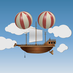 Vector flying wooden old ship in the sky