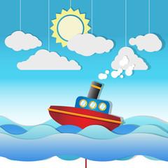 Beautiful Cute vector Steam Boat on paper cut seascape