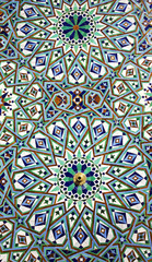 Arabic mosaic of handwork on the wall of Hassan II Mosque
