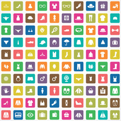 100 clothes icons set.