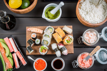 Sushi with fresh ingredients