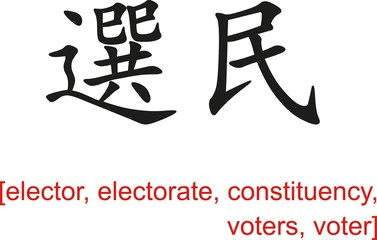 Chinese Sign for elector, electorate, constituency, voters,voter