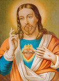 Typical catholic image of heart of Jesus Christ from Slovakia