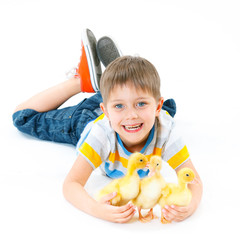 Boy with cute chickens