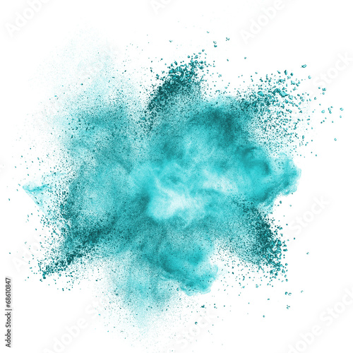 Blue powder explosion isolated on white - 68610847