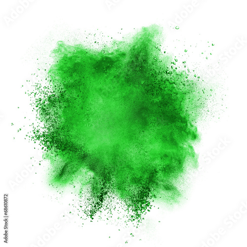 Green powder explosion isolated on white - 68610872