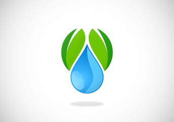 leaf water ecology vector logo