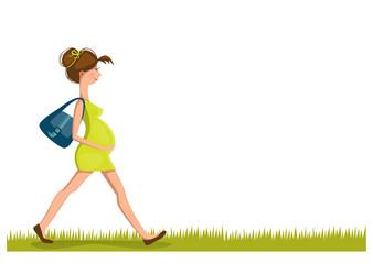 Pregnant woman walk