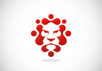 lion head abstract technology logo