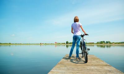 Young woman is looking at horizon