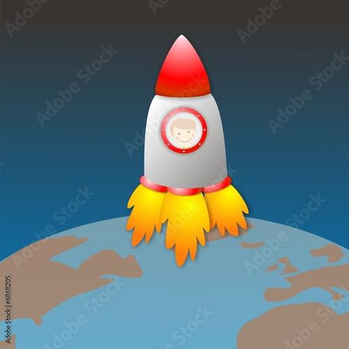 Nave espacial saliendo de la Tierra - 68611205