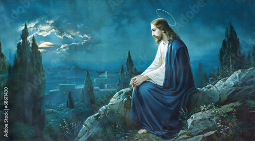 The prayer of Jesus in the Gethsemane garden. - 68611430