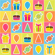 Seamless pattern with elements of birthday party - balloons,